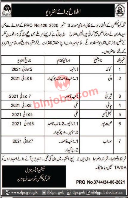 Communication Department Balochistan Interview Schedule 2021