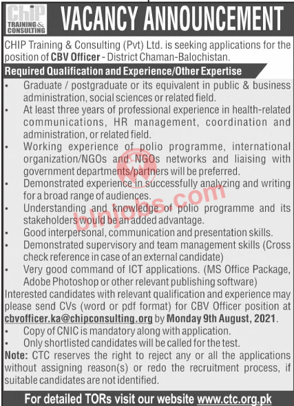 CHIP Training and Consulting CTC Chaman Jobs 2021