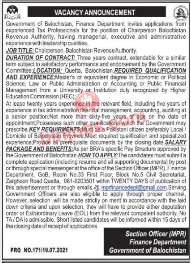 Balochistan Finance Department Jobs 2021
