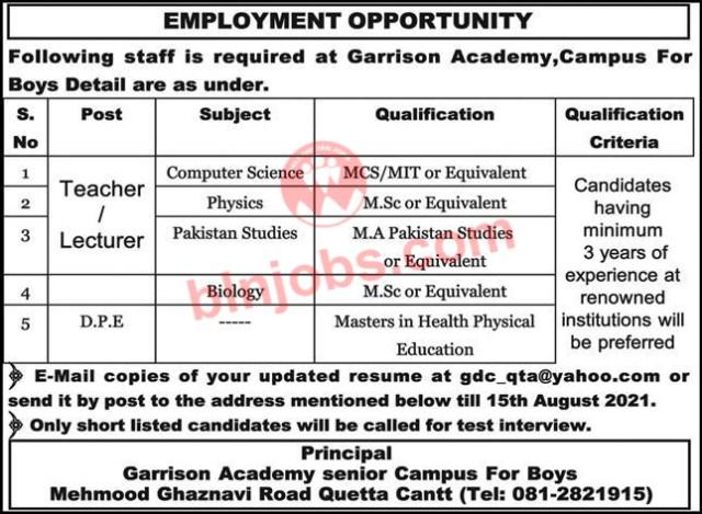 Garrison Academy Campus for Boys Quetta Jobs 2021