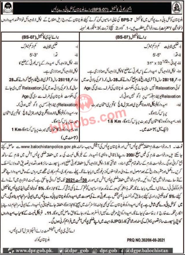 Balochistan Coastal Highway Police Constable Jobs 2021