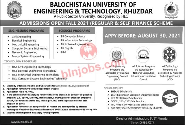 BUET Khuzdar Admission 2021 - Khuzdar University Admission