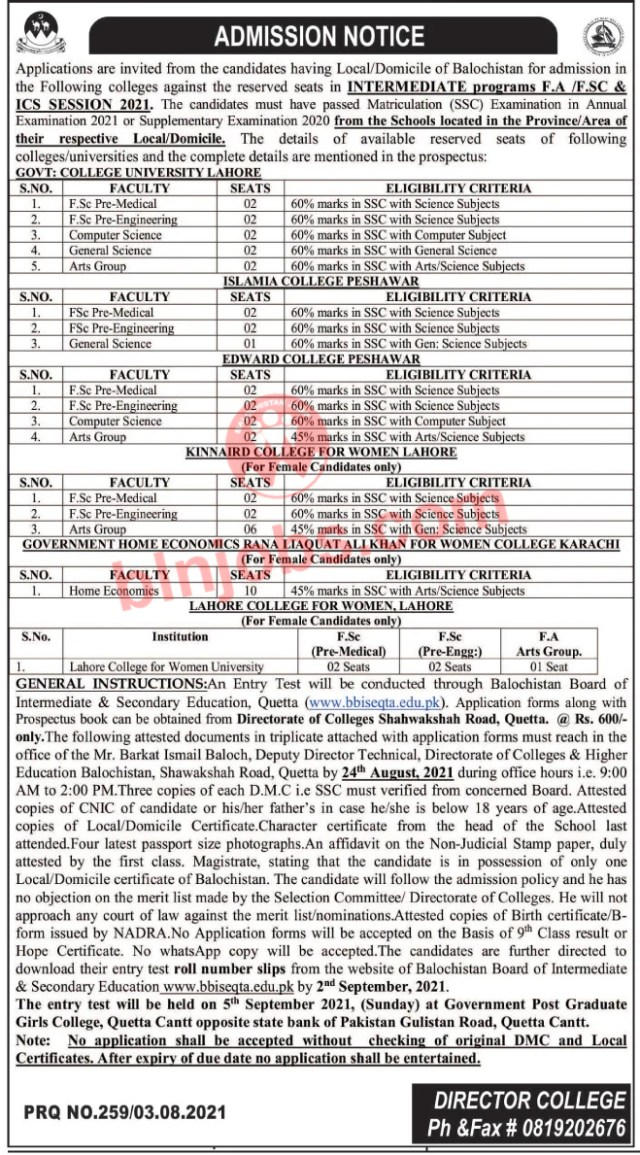 Directorate of Colleges & Higher Education Balochistan Intermediate Reserved Seats Admission 2021