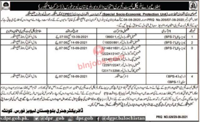 Balochistan Levies Force Pangur Jobs Test/ Interview Schedule 2021