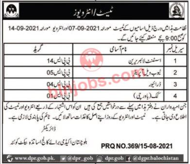 Balochistan Academy For College Teachers Interview Schedule 2021