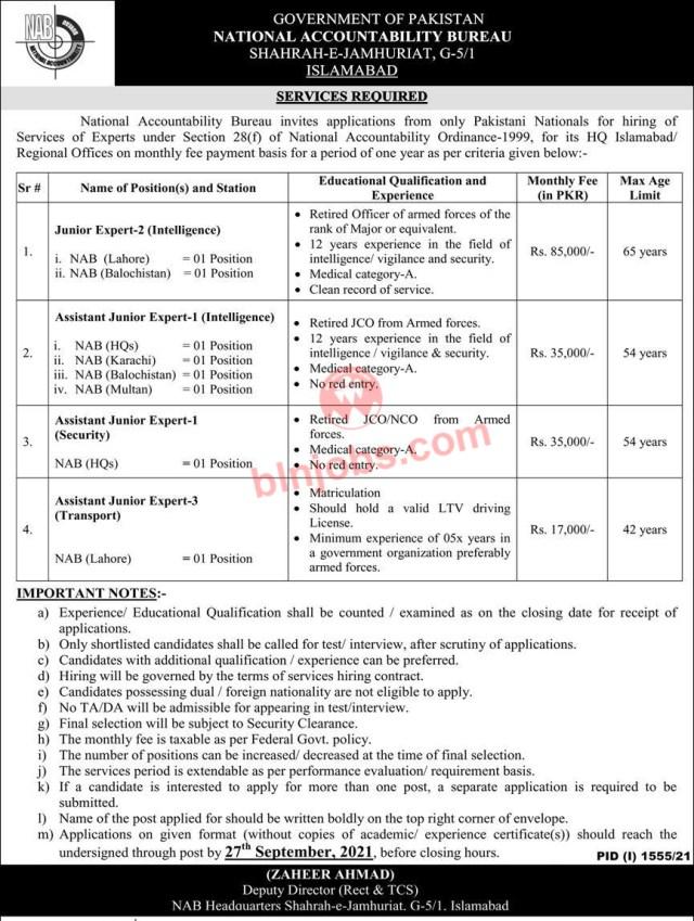 National Accountability Bureau NAB Jobs 2021 - Balochistan Quota
