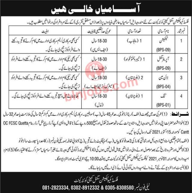 Fixed Communication Signal Company Quetta Jobs 2021