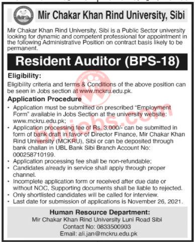 Mir Chakar Khan Rind University MCKRU Sibi Jobs 2021