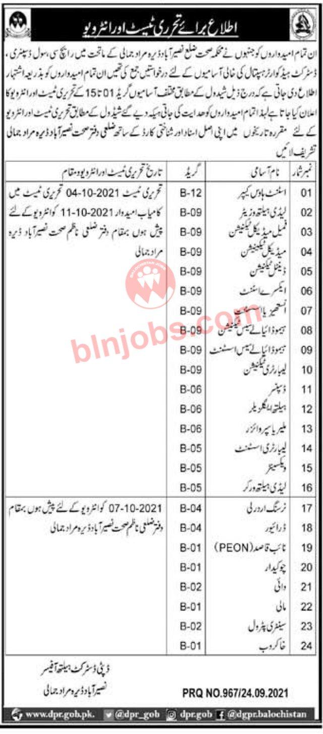 Heath Department Nasirabad Test/Interview Schedule 2021
