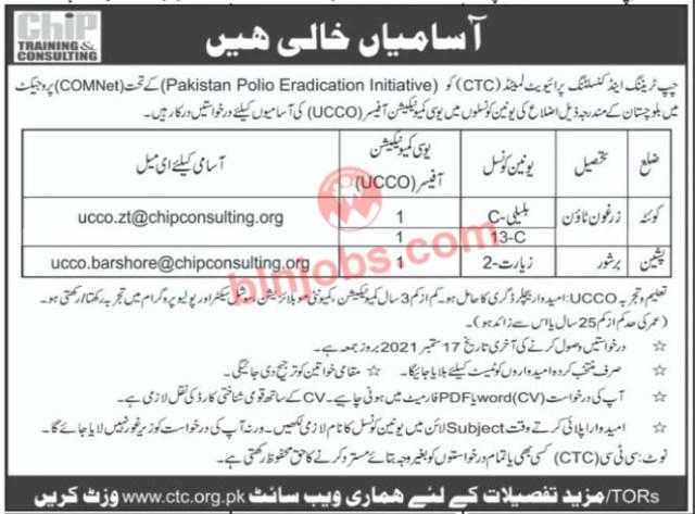 CTC Pishin and Quetta Jobs 2021