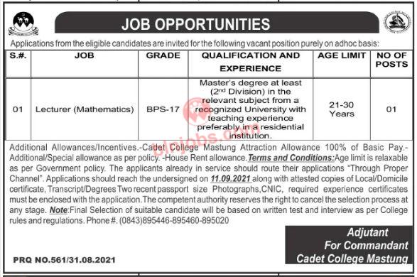 Math Lecturer Jobs in Cadet College Mastung 2021