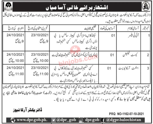 Balochistan Archives Department jobs 2021
