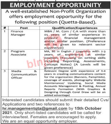 NGOs Jobs in Quetta 2021