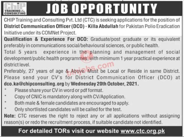 CTC Jobs in Killa Abdullah 2021