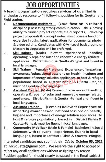 Leading Organization Jobs in Quetta 2021