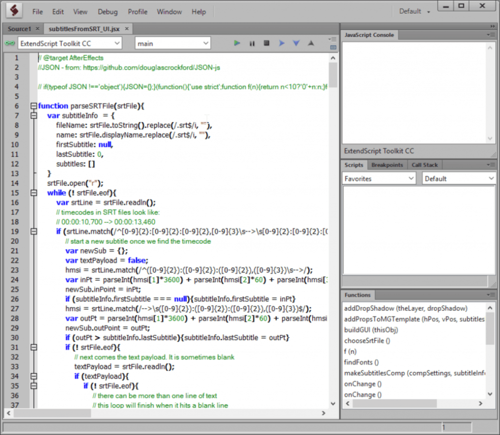 a screenshot of Adobe extendscript toolkit.