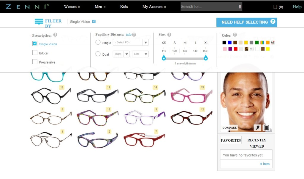 Zenni Optical filter options on the Men > All Men's Glasses page