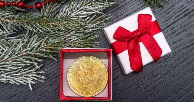 Bitcoin in a gift box