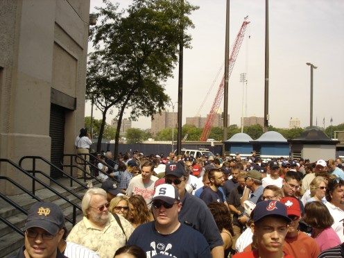 This was the line to get into the Stadium in 2008. We got there about 3 hours early to guarantee a chance to get into Monument Park.