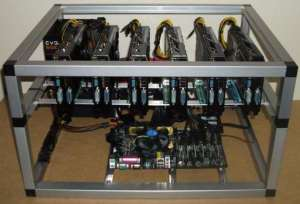 ethereum mining rig met 6 GPUs