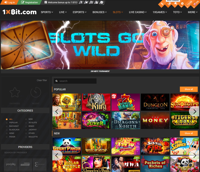 Some of the slots games on offer