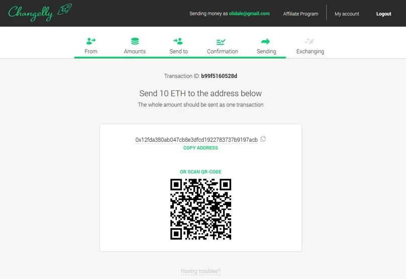 Changelly Send to