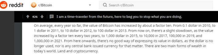 Bitcoin 2021 price prophecy on Reddit