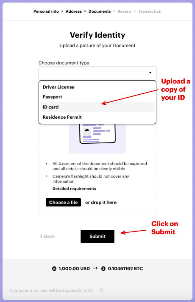 Upload ID verification on Paybis exchange