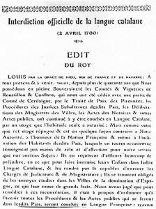 Prohibició de la llengua catalana l'any 1700