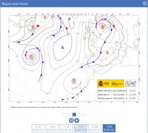 Mapa isobàric previst en superfície per al 05/11/2016, on podem veure la situació d'Altes i Baixes que ens empentava vent d'origen polar (font: AEMet).