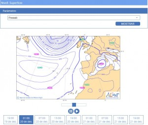 Mapa isobàric previst en superfície per al 20/12/2016, a les 1 h, on podem veure com l'anticicló ens començava a abraçar de bell nou, mentre que les Illes Balears i Pitiüses romanien encara sota l'efecte del temporal de pluja i vent (font: AEMet).