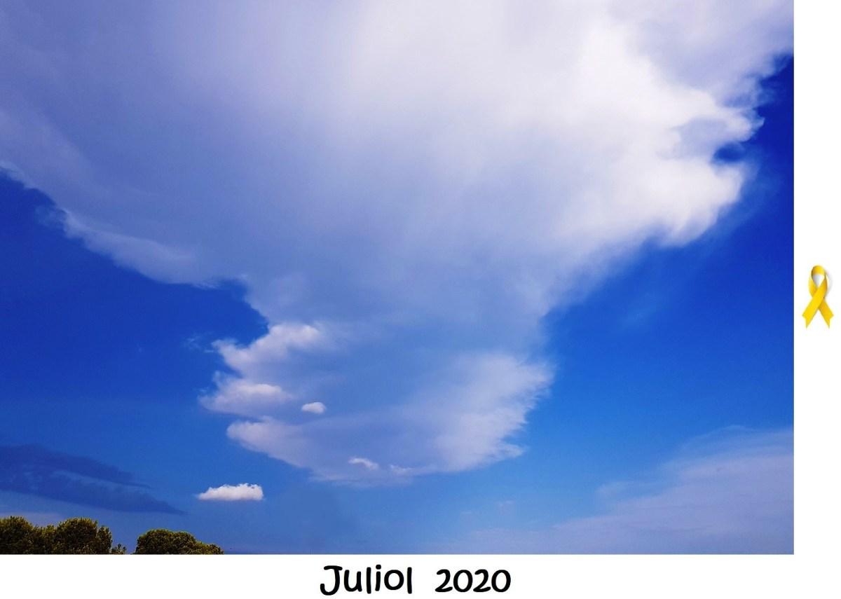 """""""Pel juliol, els temporals a la posta de sol"""". De sensació tèrmica i meteorologia de juliol, 2020, des del Camp de Túria."""