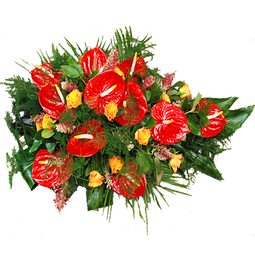 Rouwarrangement rode Anthurium