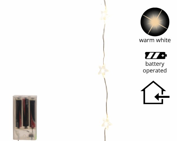 Led Kerstverlichting Ster 20 lampjes (batterij)