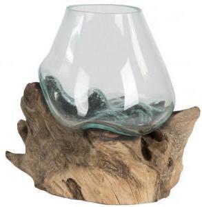 Decowood Glass A Round 15x15 cm ronde glazen vaas op boomstronk M decoratie