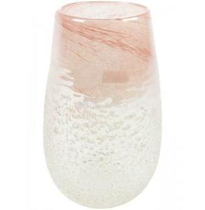 High Vase Ivy Vulcan Pearl Pink transparante roze hoge glazen vaas 18x30 cm