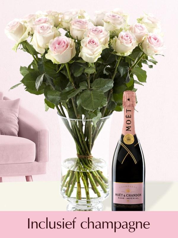 Roze rozen met Moët & Chandon champagne Brut Rosé 0,375l| Rozen online bestellen & versturen | Surprose.nl