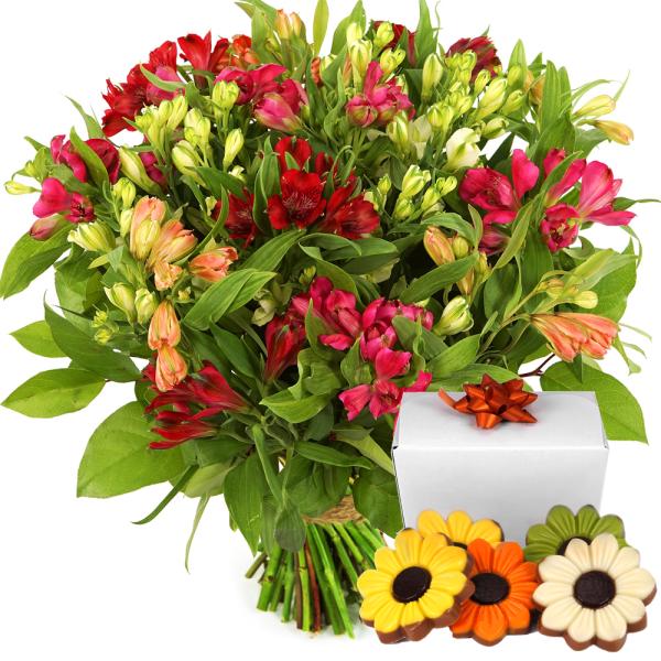 Alstroemeria bloemen en bloemetjes chocolade bestellen of bezorgen