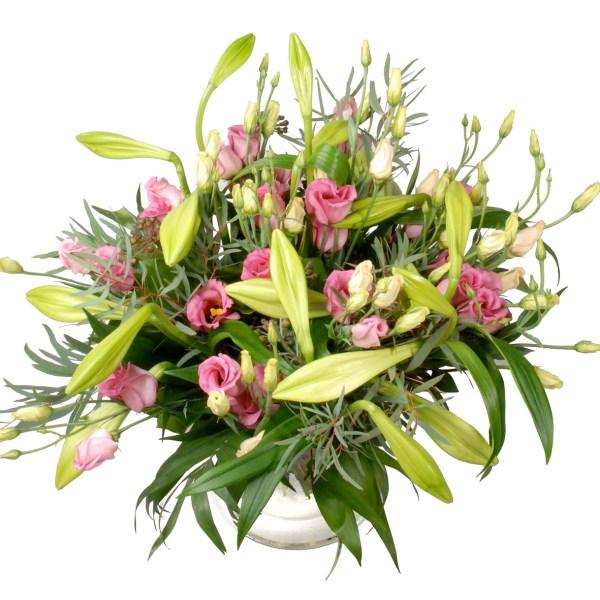 Boeket ( éénvoud ) Witte lelie's en roze bloemen ! bestellen of bezorgen
