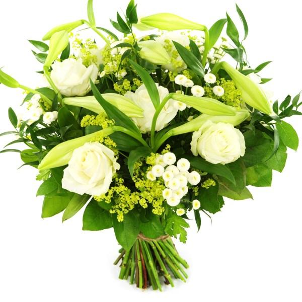 Boeket witte lelie en witte rozen bestellen of bezorgen