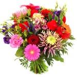 Bonte bloemen en rode hartjes bestellen bestellen of bezorgen