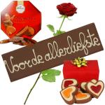 Chocolade pakket met rode roos bezorgen bestellen of bezorgen