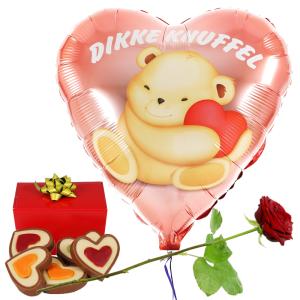 Dikke knuffel ballon en hartjes chocolade en rode roos bestellen of bezorgen