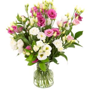 Eustoma bloemen in melkbus vaasje bestellen bestellen of bezorgen