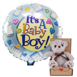 Geboorte jongen ballon en knuffel bestellen bestellen of bezorgen