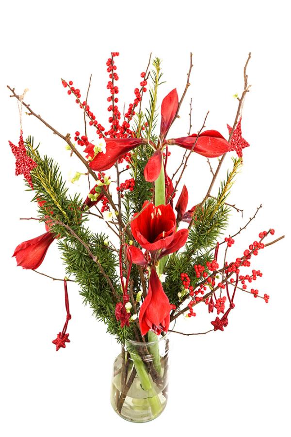 Geplukt kerstboeket rode Amaryllissen in melkbus vaas bestellen of bezorgen