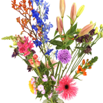 Geplukt tuinboeket in glazen melkbus vaas bestellen of bezorgen