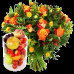 Glazen vaas met fruit en bloemen bezorgen bestellen of bezorgen