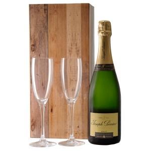 Joseph Perrier Brut en champagne glazen bezorgen bestellen of bezorgen