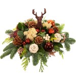 Kerststuk brons met rendier bestellen of bezorgen